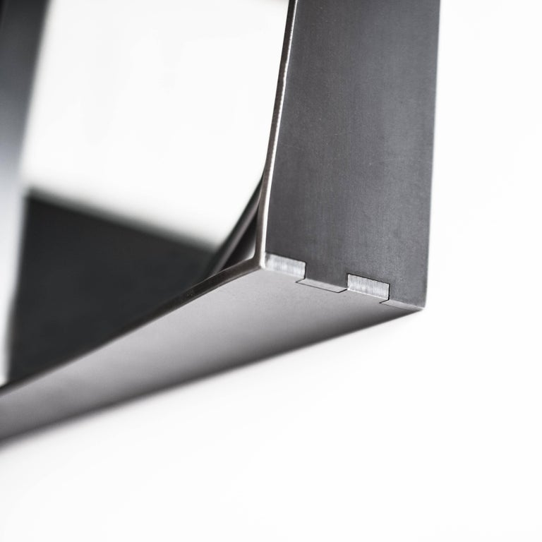 The Gem mirror is equal parts form and function. This design proudly highlights both the materiality and the construction while still being highly functional. The frame doubles as a shelf for the user and the mirror is easily removable for cleaning.