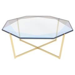 Gem Octagonal Coffee Table-Blue Glass with Brass Base by Debra Folz