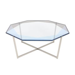 Gem Octagonal Coffee Table-Blue Glass with Stainless Steel Base by Debra Folz