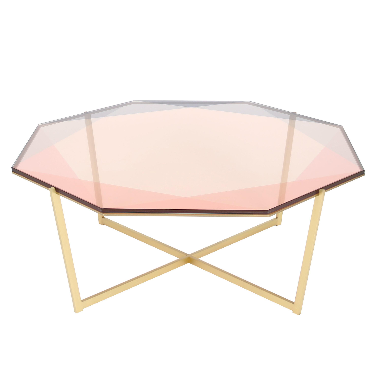 Gem Octagonal Coffee Table-Blush Glass with Brass Base by Debra Folz
