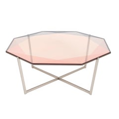 Gem Octagonal Coffee Table-Blush Glass with Stainless Steel Base by Debra Folz