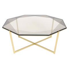 Gem Octagonal Coffee Table-Smoke Glass with Brass Base by Debra Folz