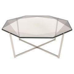 Gem Octagonal Coffee Table - Smoke Glass W/ Stainless Steel Base by Debra Folz