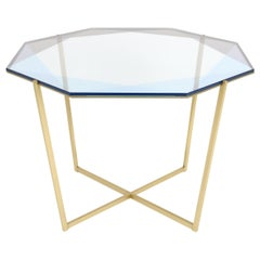 Gem Octagonal Dining Table / Entry Table-Blue Glass with Brass Base, Debra Folz