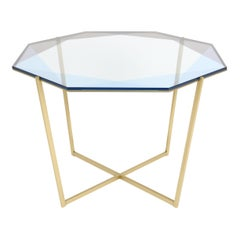 Gem Octagonal Dining Table/Entry Table-Blue Glass W/ Brass Base by Debra Folz