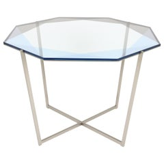 Gem Octagonal Dining Table/Entry Table-Blue Glass with Steel Base by Debra Folz
