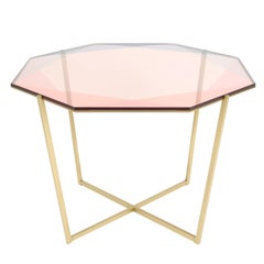 Gem Octagonal Dining Table/Entry Table-Blush Glass W/ Brass Base by Debra Folz