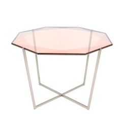 Gem Octagonal Dining Table / Entry Table-Blush Glass with Steel Base, Debra Folz