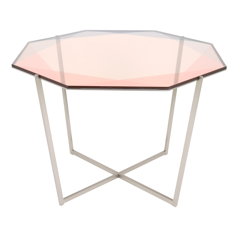 Gem Octagonal Dining Table/Entry Table-Blush Glass W/ Steel Base by Debra Folz