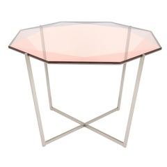 Gem Octagonal Dining Table/Entry Table-Blush Glass W/ Steel Base by Debra Folz