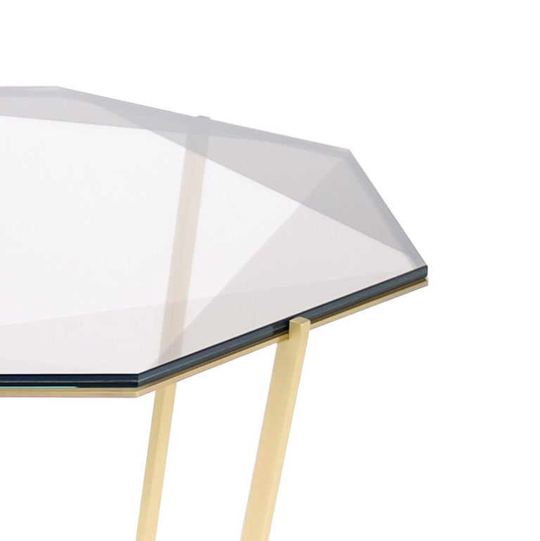 Other Gem Octagonal Dining Table/Entry Table-Smoke Glass with Brass Base by Debra Folz For Sale
