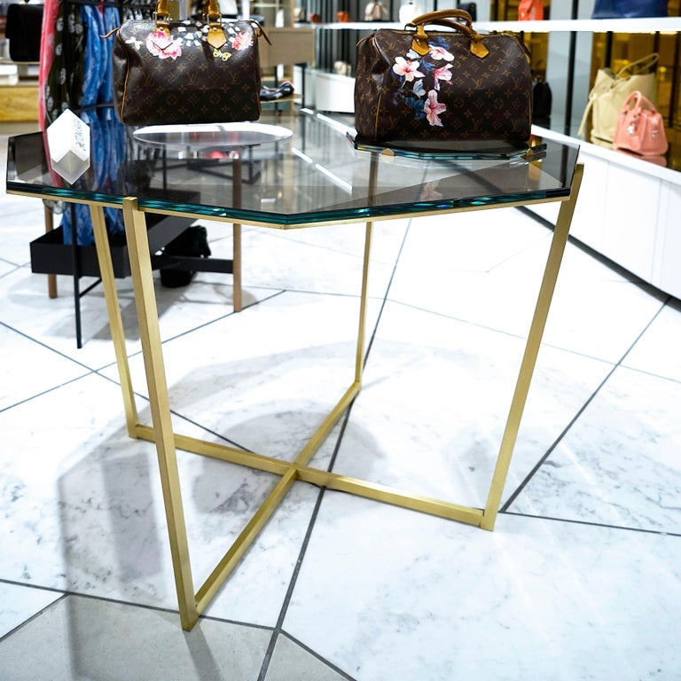 American Gem Octagonal Dining Table/Entry Table-Smoke Glass with Brass Base by Debra Folz For Sale