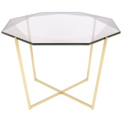 Gem Octagonal Dining Table / Entry Table-Smoke Glass with Brass Base, Debra Folz