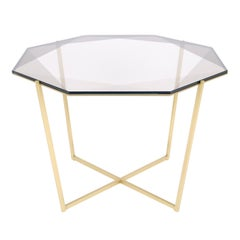 Gem Octagonal Dining Table/Entry Table-Smoke Glass with Brass Base by Debra Folz