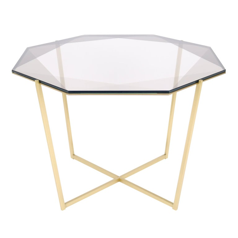 Gem Octagonal Dining Table/Entry Table-Smoke Glass with Brass Base by Debra Folz For Sale