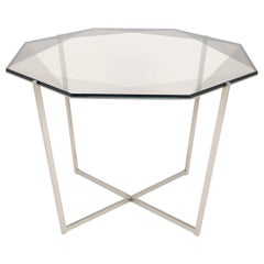 Gem Octagonal Dining Table / Entry Table-Smoke Glass w/ Steel Base by Debra Folz