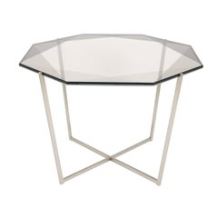 Gem Octagonal Dining Table/Entry Table-Smoke Glass with Steel Base by Debra Folz