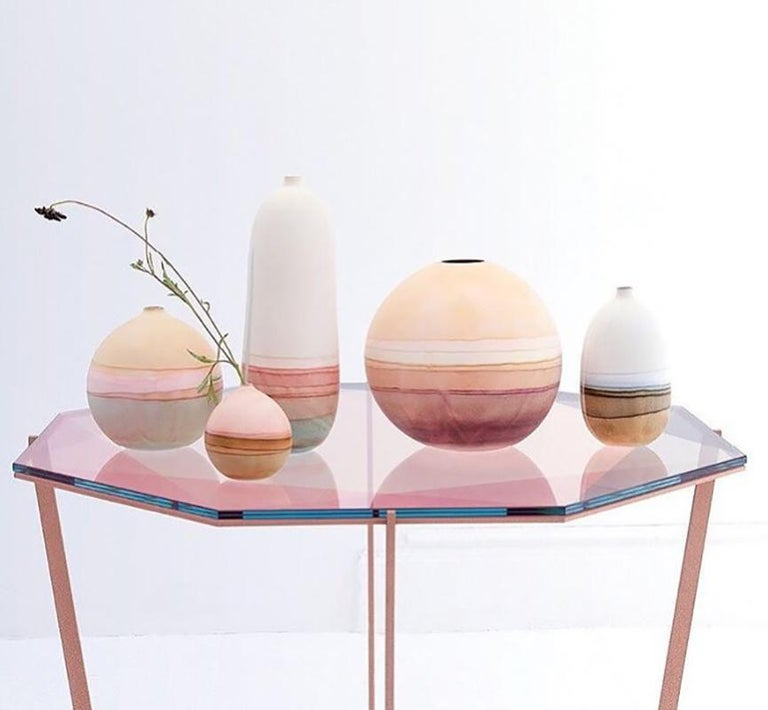 Brushed Gem Octagonal Dining Table / Entry Table-Blush Glass w/ Brass Base by Debra Folz For Sale