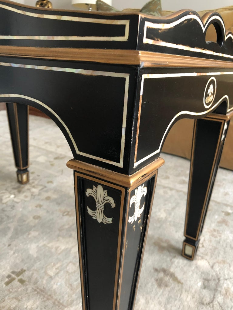 Gem of a Hollywood Regency Black White and Gold Small Sized Tray Coffee Table For Sale at 1stdibs