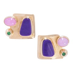 Gem Quality Sugilite French Clip Earrings