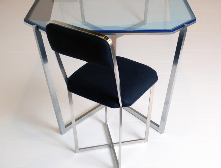 Other Gem Rectangular Dining Table/ Blue Glass with Stainless Steel Base by Debra Folz For Sale