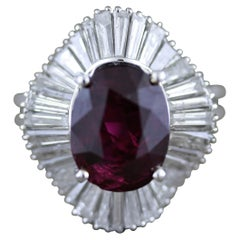 Gem Rubellite Tourmaline Diamond Platinum Ballerina Ring