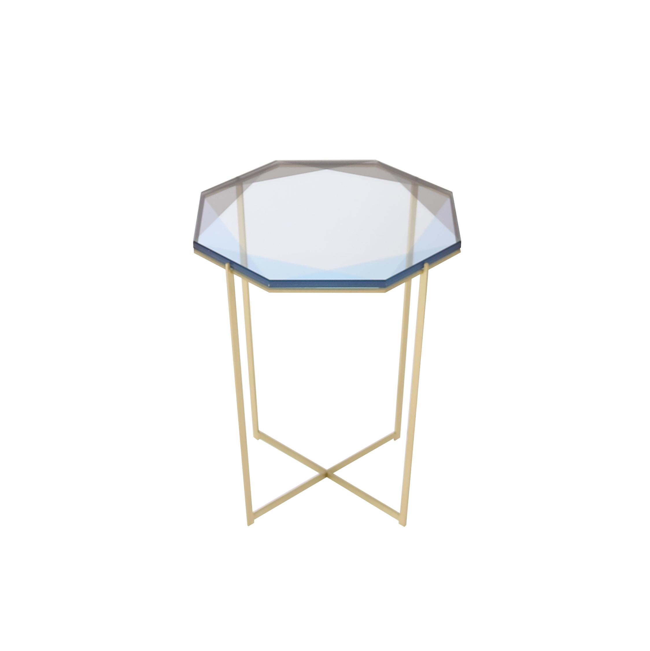 Gem Side Table with Blue Glass and Brass base by Debra Folz