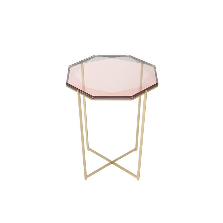Gem Side Table - Blush Glass w/ Brass Base by Debra Folz For Sale