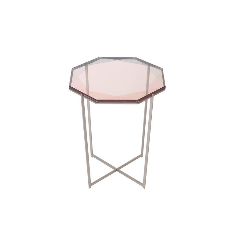 Gem Side Table - Blush Glass w/ Stainless Steel Base by Debra Folz For Sale