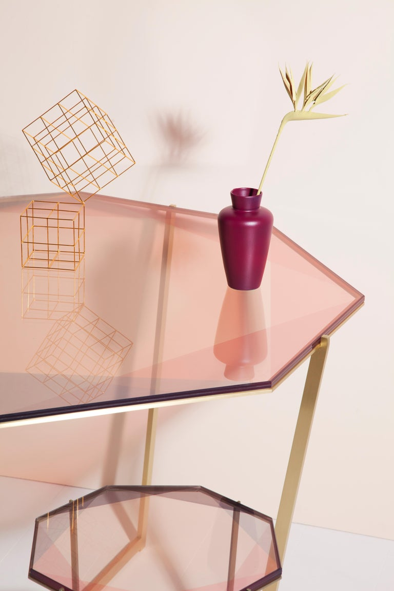 Gem Side Table - Blush Glass w/ Stainless Steel Base by Debra Folz In New Condition For Sale In Pawtucket, RI