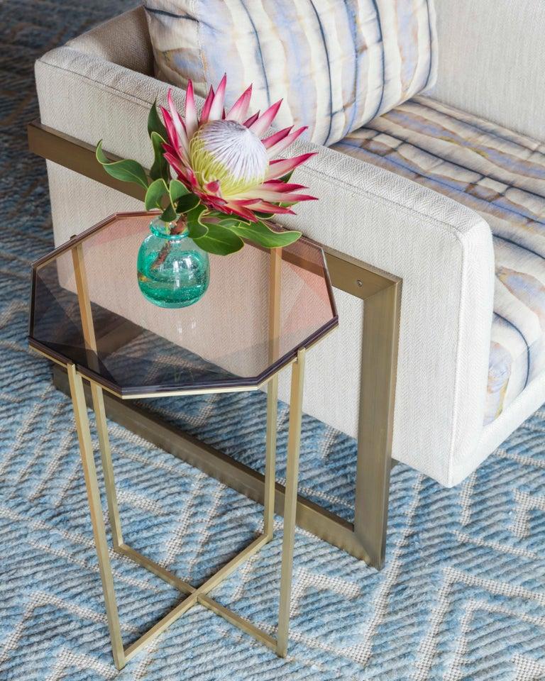 American Gem Side Table - Blush Glass w/ Brass Base by Debra Folz For Sale
