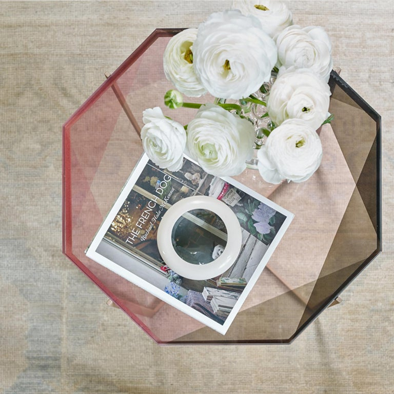 Brushed Gem Side Table - Blush Glass w/ Brass Base by Debra Folz For Sale