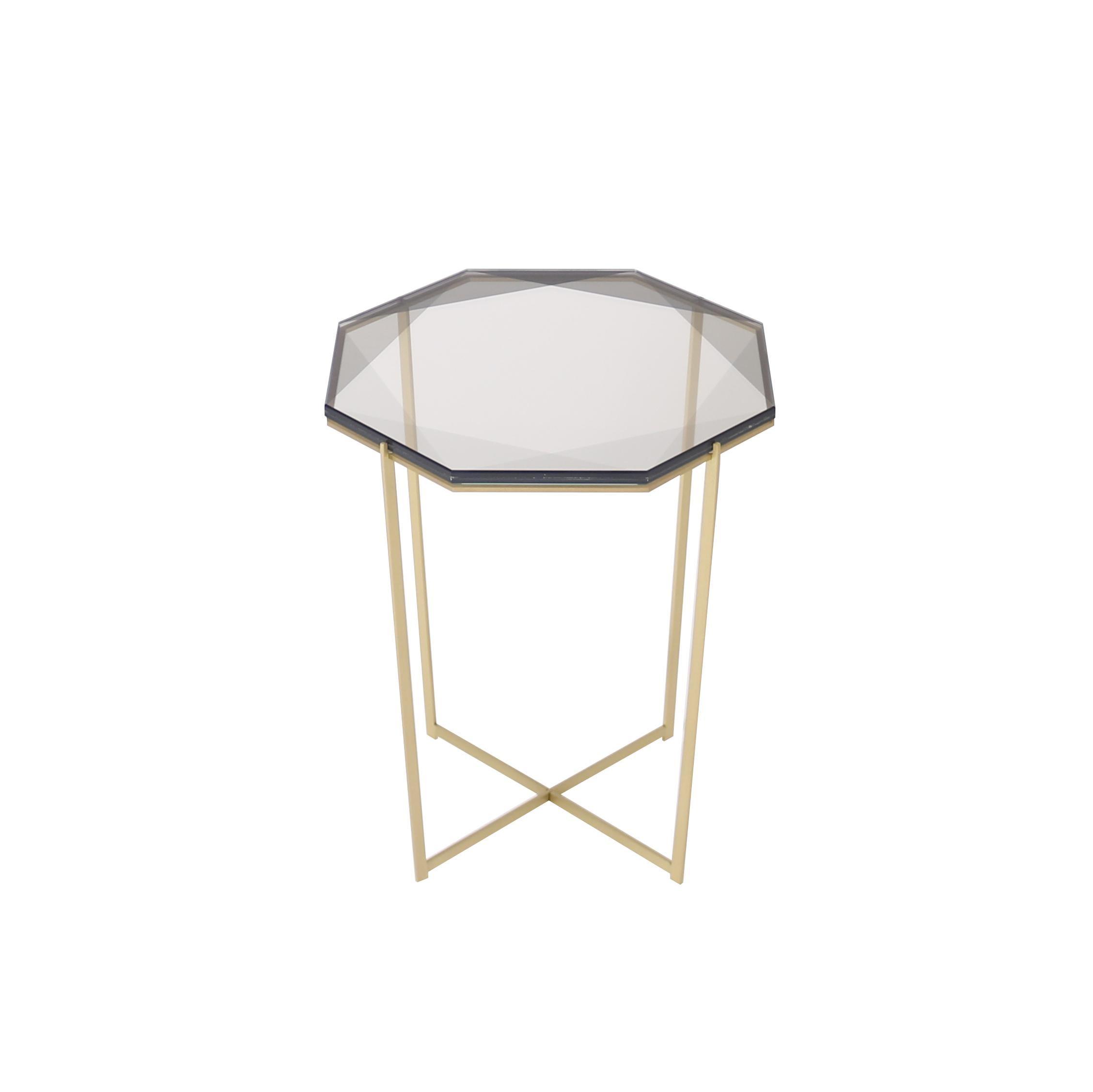 Gem Side Table - Smoke Glass w/ Brass Base by Debra Folz