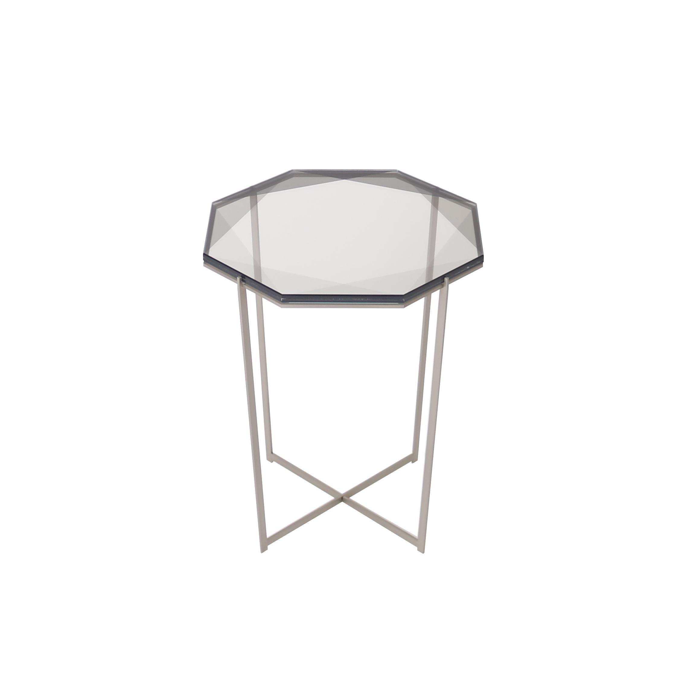 Gem Side Table - Smoke Glass w/ Stainless Steel Base by Debra Folz