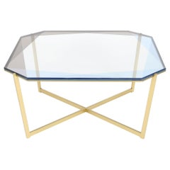 Gem Square Coffee Table - Blue Glass with Brass Base by Debra Folz
