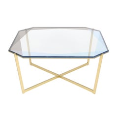 Gem Square Coffee Table-Blue Glass with Brass Base by Debra Folz