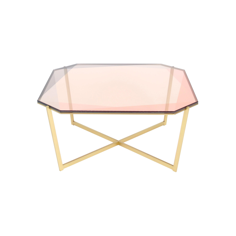 Gem Square Coffee Table, Blush Glass with Brass Base by Debra Folz