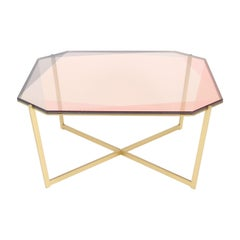 Gem Square Coffee Table-Blush Glass with Brass Base by Debra Folz