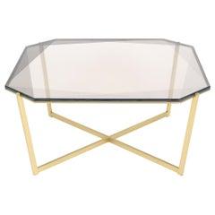 Gem Square Coffee Table, Smoke Glass with Brass Base by Debra Folz