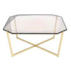Gem Square Coffee Table-Smoke Glass with Brass Base by Debra Folz