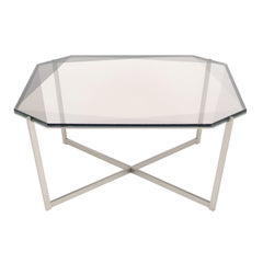 Gem Square Coffee Table-Smoke Glass with Stainless Steel Base by Debra Folz