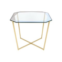 Gem Square Dining / Entry Table, Blue Glass with Brass Base by Debra Folz