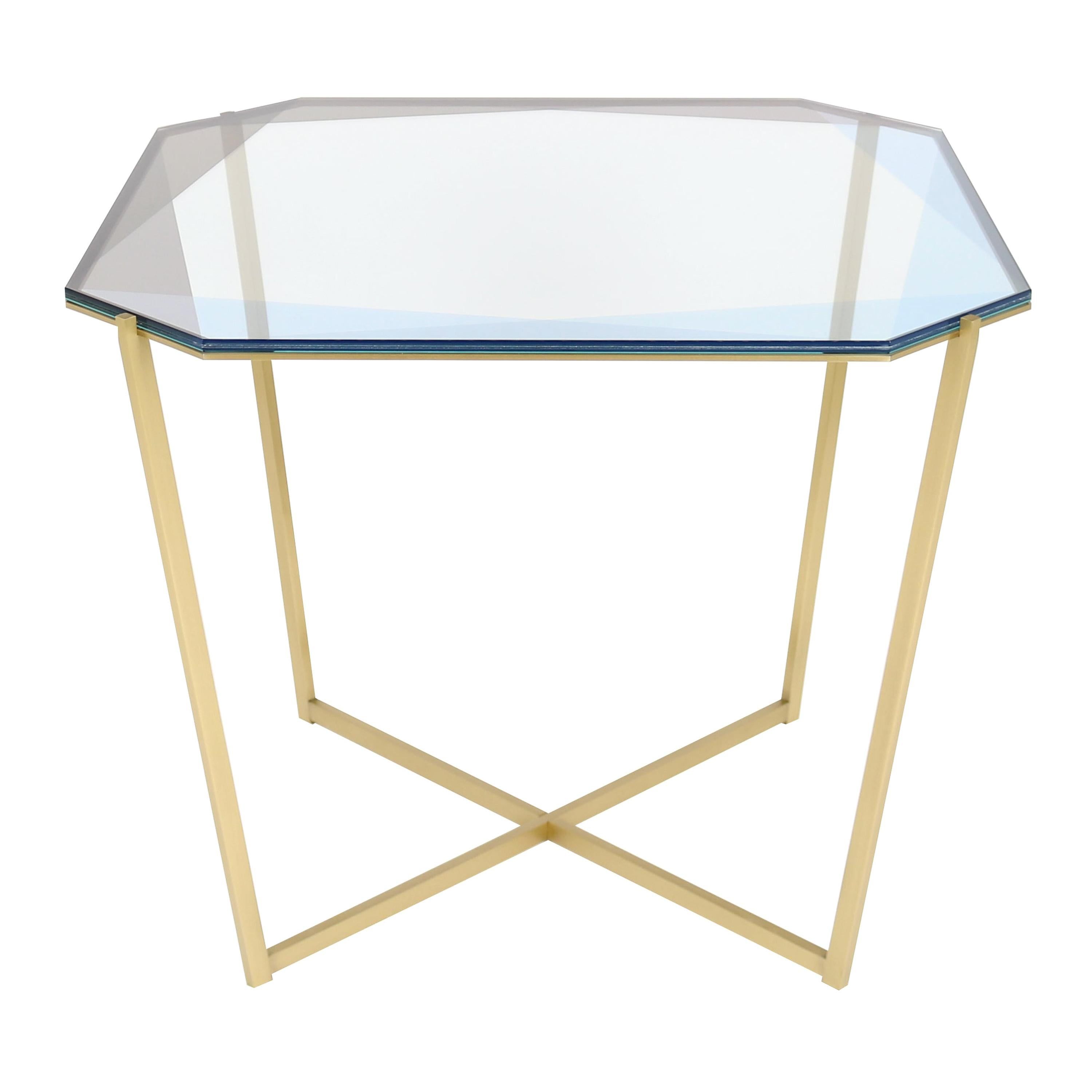 Gem Square Dining / Entry Table-Blue Glass with Brass Base by Debra Folz