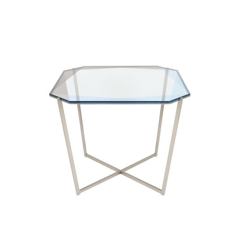 Gem Square Dining / Entry Table - Blue Glass w/ Steel Base by Debra Folz For Sale