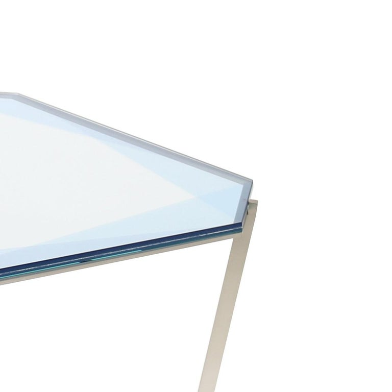 Other Gem Square Dining / Entry Table - Blue Glass w/ Steel Base by Debra Folz For Sale
