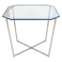 Gem Square Dining / Entry Table-Blue Glass with Steel Base by Debra Folz