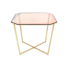 Gem Square Dining / Entry Table, Blush Glass with Brass Base by Debra Folz