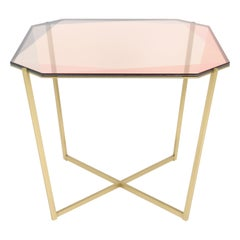Gem Square Dining / Entry Table-Blush Glass with Brass Base by Debra Folz