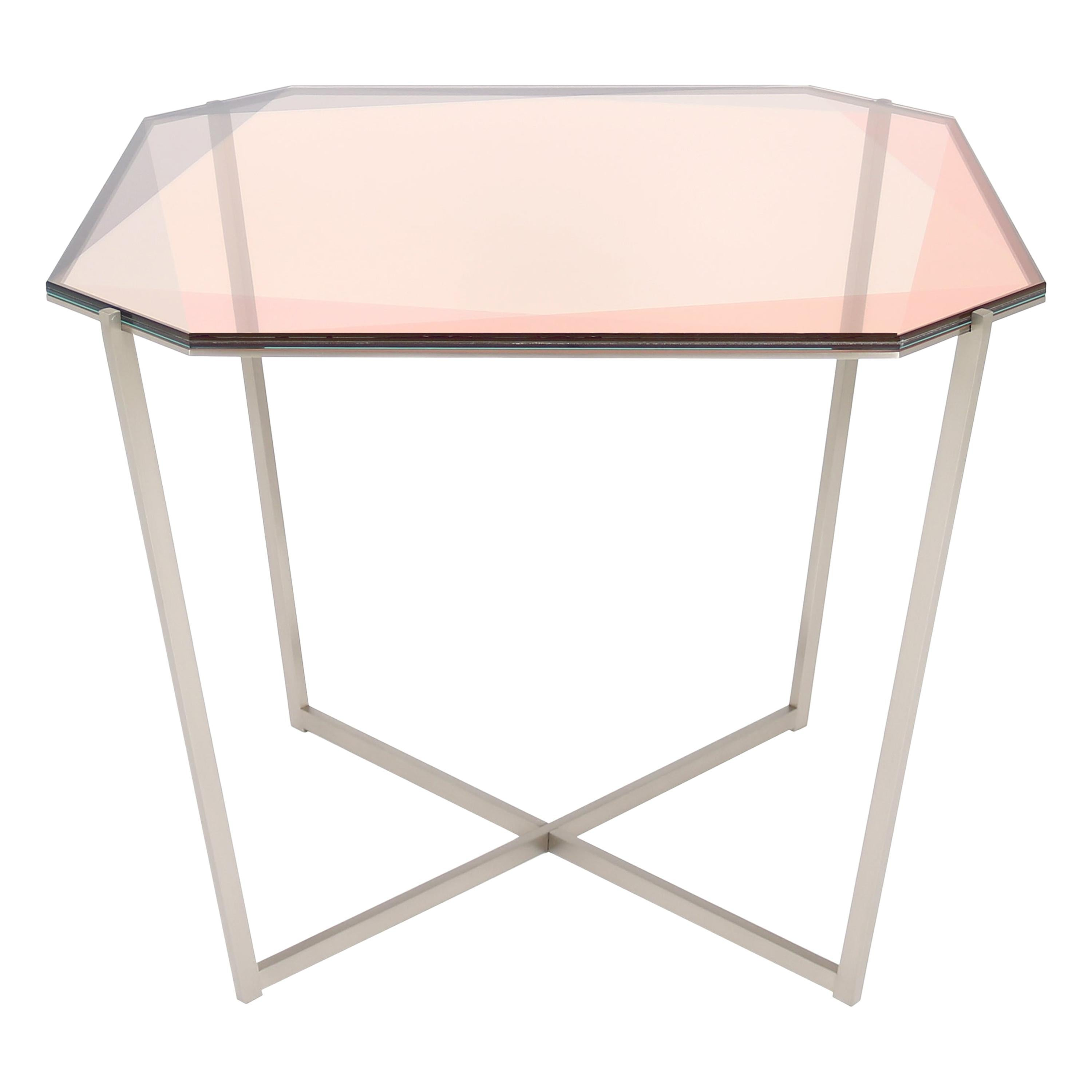 Gem Square Dining / Entry Table-Blush Glass with Steel Base by Debra Folz
