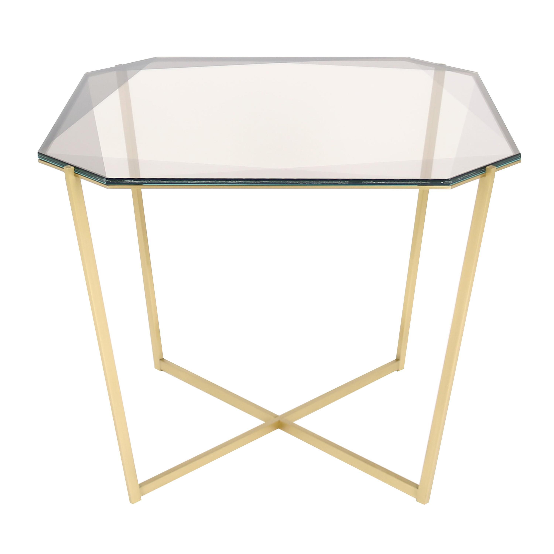 Gem Square Dining / Entry Table-Smoke Glass with Brass Base by Debra Folz